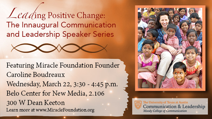 Miracle Foundation non-profit founder Caroline Boudreaux event March 22