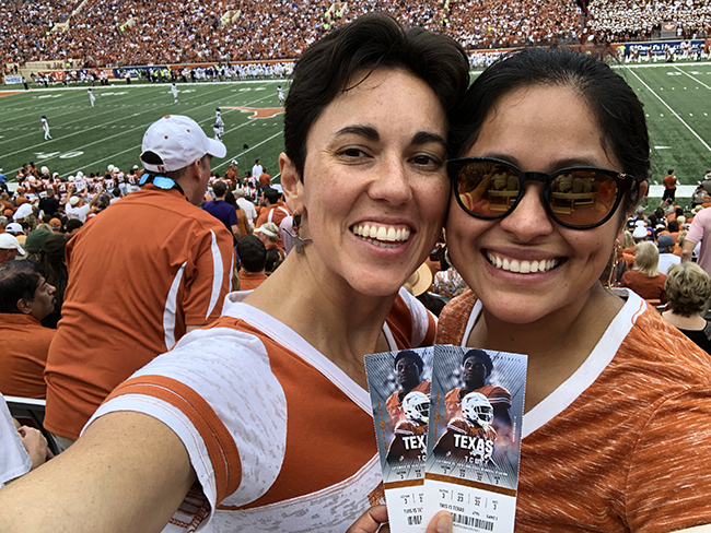 Gina and Jodi at Texas Football game