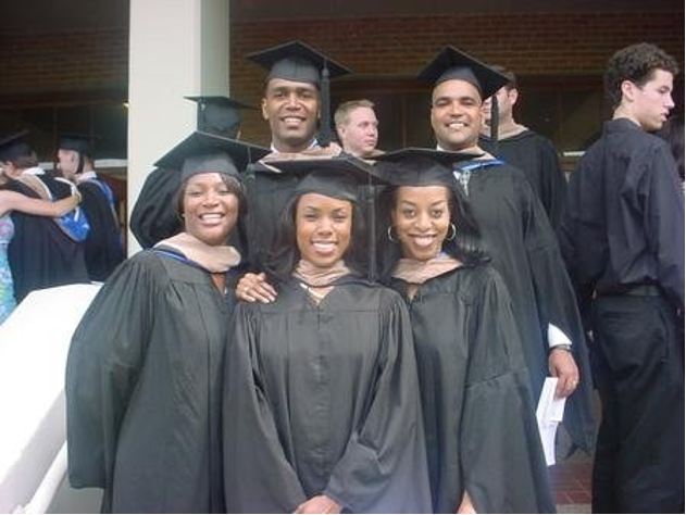 Tammy Smithers and four fellow Black Rice MBA graduates pose after commencement.
