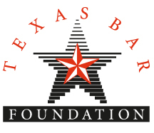 Texas Bar Foundation logo with a red star in the middle of a black gradient star