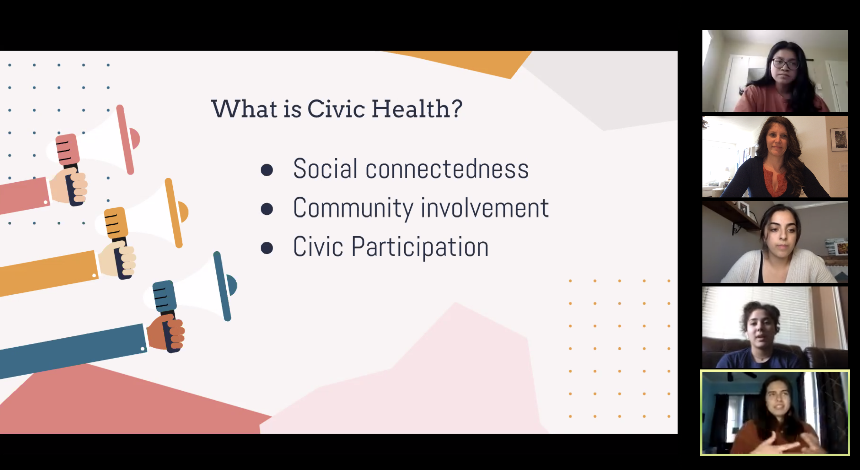 Students reviewing Civic Health