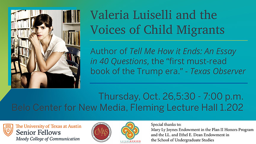 Valeria Luiselli Lecture on Child Migrants, Oct. 26