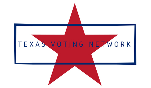 """Star in background with a blue box fixed in front of the image that has """"Texas Voting Network"""" in the box"""