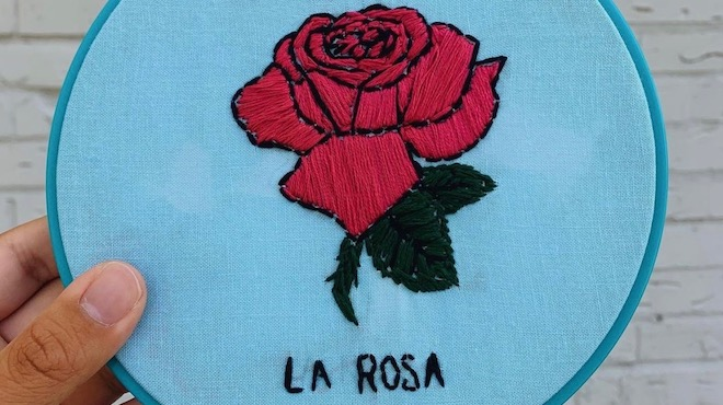 "Judith Hernandez hand embroidery ""la rosa"""