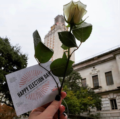 White Roses in front of the UT Tower